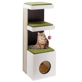 Ferplast 74052021 Katzenmöbel Tiger, aus Holz und mit Kratzfläche, Maße: 40 x 40 x 115 cm -