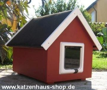 Katzenhaus / Katzenhütte wetterfest für draußen mit Katzenklappe, Spitzdach, Farbe schwedenrot -