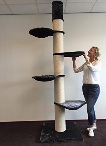 Kratzbaum große katze XXL Maine Coon Tower Anthrazit. Sisalstämme 20cm Ø. Speziell für große und schwere Katzen. Deckenhoch. Europäische Qualitätsproduktion -
