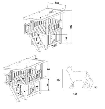 SixBros. Hunde- und Katzenhütte Hunde- und Katzenhaus Massiv Holz W20017-S/1997 -