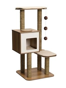 """Vesper 52045 Katzenmöbel """"High Base"""" walnut - Kubus-Höhle mit zwei Plattformen -"""