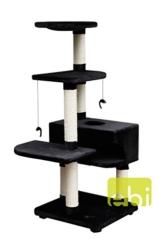 Europet Kratzbaum/Katzenbetten mit Stamm, 9x 56x 56/145cm, schwarz -