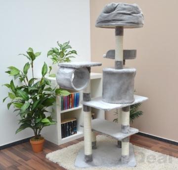 eyepower Katzenkratzbaum Hans ca. 155 cm hoch Kratzbaum Katzenbaum | Freistehender Kletterbaum für Katzen inkl. Kuschelbett mit hohem Rand | Stämme aus Natursisal | weiche Plüsch-Liegeflächen | Grau -