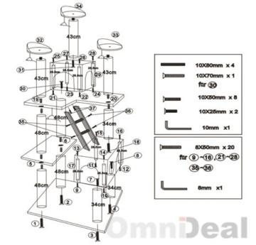 eyepower Katzenkratzbaum Heidi | Großer freistehender Kratzbaum ca. 180 cm hoch | Stämme aus Natursisal | weiche Plüsch-Liegeflächen | Kletterbaum Spielbaum für Katzen | stabiler Katzenbaum | Grau -