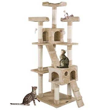 Happypet® CAT002-2 Kratzbaum Katzenbaum mittelhoch 1,80 hoch Beige -