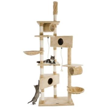 Happypet® CAT012-2 Kratzbaum Katzenbaum deckenhoch 2,30 bis 2,60 hoch Beige -