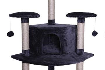 Kratzbaum (als Eck-Kratzbaum geeignet) für Katzen, Katzenkratzbaum, Höhe 200 cm (grau) -