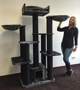 Kratzbaum für große Katzen XXL Maine Coon Fantasy Blackline Dunkel Grau. 15cmØ Kratzstämme Katzenkratzbaum Speziell für große und schwere Katzen. Von RHRQuality -