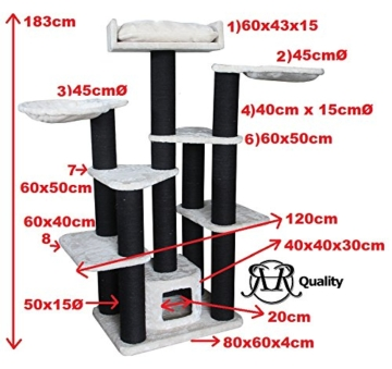 Kratzbaum für große Katzen XXL Maine Coon Fantasy Creme. 15cmØ Kratzstämme 120x60x183cm Katzenkratzbaum speziell für große und schwere Katzen. Von RHRQuality -