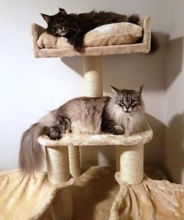 Kratzbaum große Katze XXL Creme Panther 12cmØ Kratzstämme 100x60x173cm und 62KG Super Amazon Promo. Katzenkratzbaum Speziell für große und schwere Katzen. Von RHRQuality -