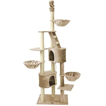 Kratzbaum Katzenbaum CAT009 deckenhoch 2,30 m bis 2,60 m Beige -
