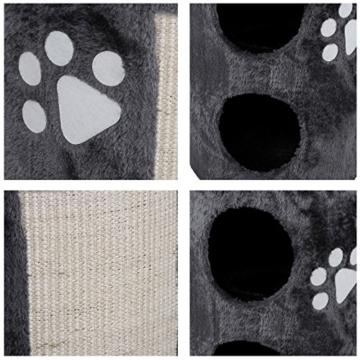 Songmics Kratztonne mit Natursisal 2 kuscheligen Höhlen 56 cm Grau PCT02G -