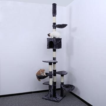 Songmics XXL Kratzbaum deckenhoch höhenverstellbar 240-260 cm verdickte Säule Ø ca. 8,6 cm PCT88G -